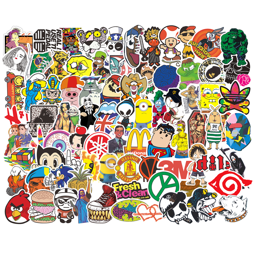 200/pcs Pack Mixed Stickers For Luggage Laptop Decal Bike Car Motorcycle Phone Snowboard Funny Doodle Cool DIY Sticker Toys Gift