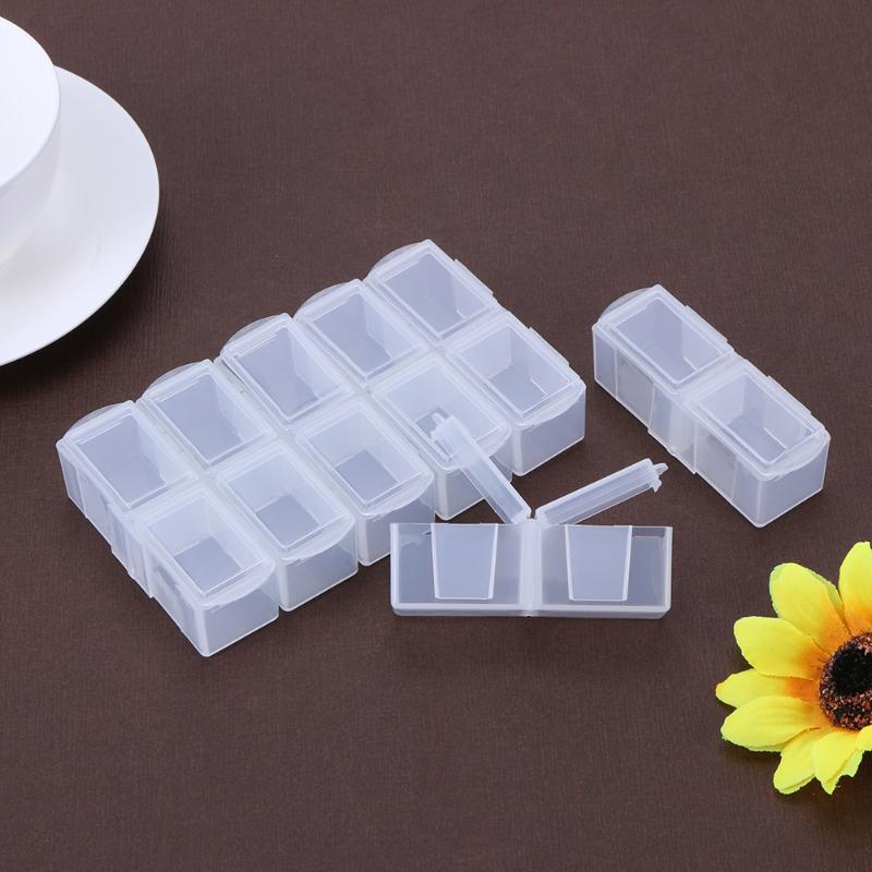 14 Slots Clear Adjustable Plastic Jewelry Storage Box Craft Organizer Necklace Beads Earring Case Organizer Container