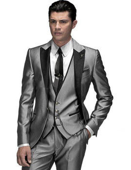 New Design One Button Silver Gray Groom Tuxedos Peak Lapel Groomsmen Mens Wedding Prom Suits (Jacket+Pants+Vest+Tie) NO:25