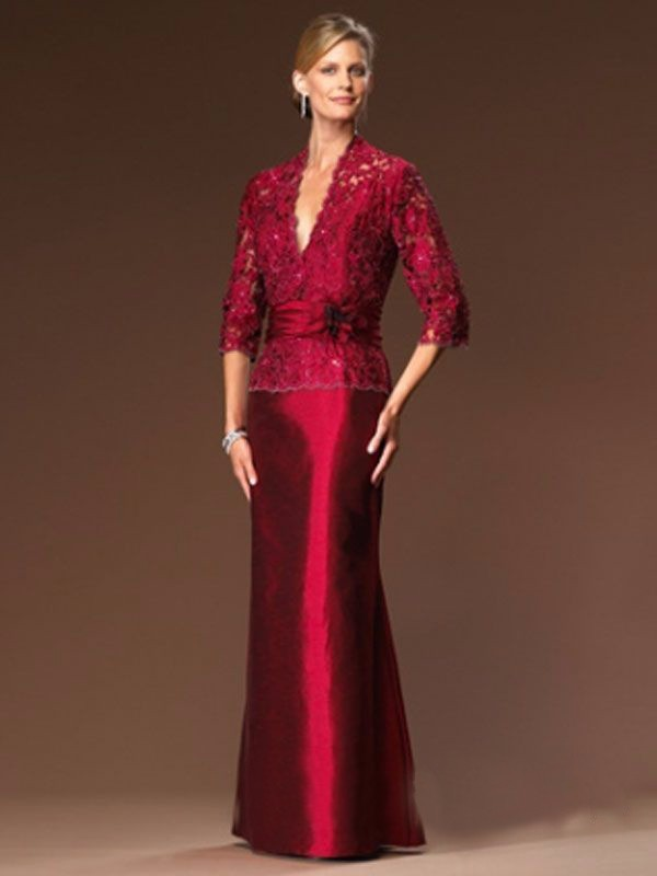 Beaded-Red-Lace-Taffeta-Trumpet-Long-Mother-of-the-Bride-Lace-Dresses-3-4-Sleeves-V