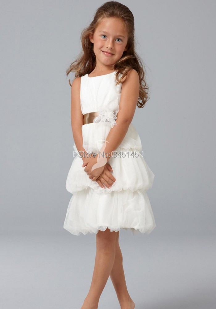 Free Shipping A Line Jewel Knee Length Tiered Organza Vintage   Flower     Girls     Dresses   With Handmade   Flower   Cheap Cupcake