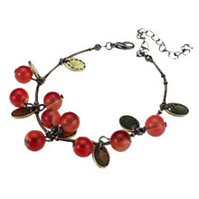 Red Stone Cherry Bracelets Gold Color Leaf Charm Link Chain Cuff Bangles Hand Wristbands Fashion Jewelry For Women Accessories(China)