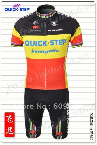 Free DHL Shipping Quick step 2010 black mix yellow Short sleeve cycling jerseys with bib short Coolmax sublimation technology