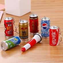 36 PCs criativo bebidas latas de latas de caneta esferográfica estudante bonito keychain telescópica caneta esferográfica atacado