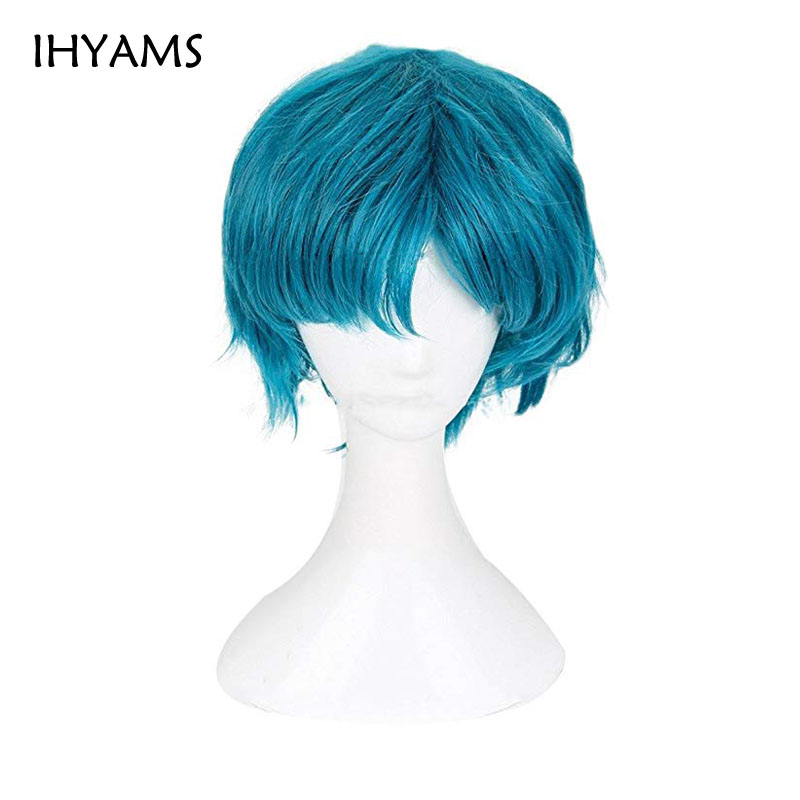 Sailor Moon Sailor Mercury Mizuno Ami Short Styled Cyan Blue Color Heat Resistant Synthetic Hair Cosplay Costume Wig + Wig Cap