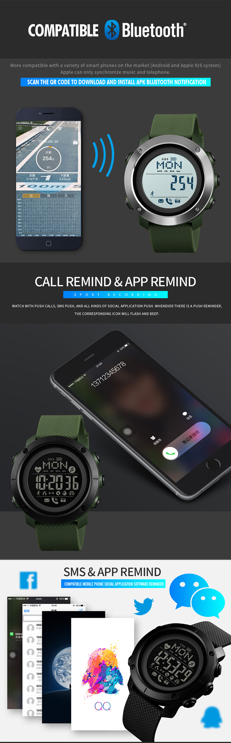 Bluetooth relógio inteligente para android wear android