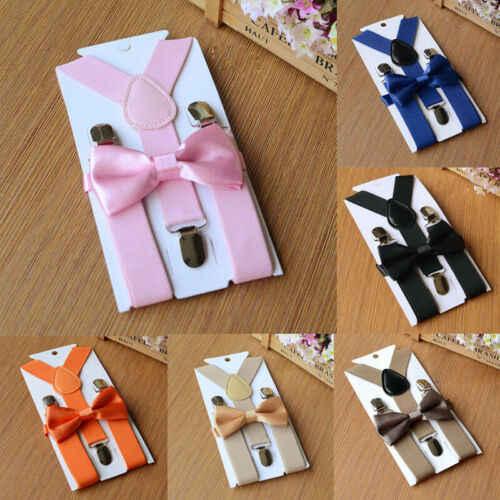 Conjunto de tirantes y pajarita ajustables para bebés y niños, niños, niñas, niños, pajarita, esmoquin, traje de boda para fiesta