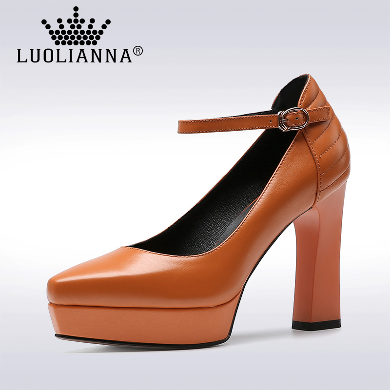 Lady shoes High Heels Shoes Women Genuine Leather pumps Pointed Toe Platform Shoes Thick Heel Cow leather Pumps woman LUOLIANNA nayiduyun women genuine leather wedge high heel pumps platform creepers round toe slip on casual shoes boots wedge sneakers
