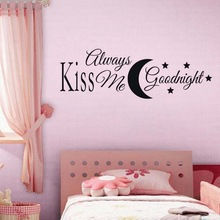 Cartoon Moon and Starts Wall Decor DIY Kiss Me Goodnight Wall Sticker For Living Room Bedroom Art Mural  Wallpaper goodnight moon