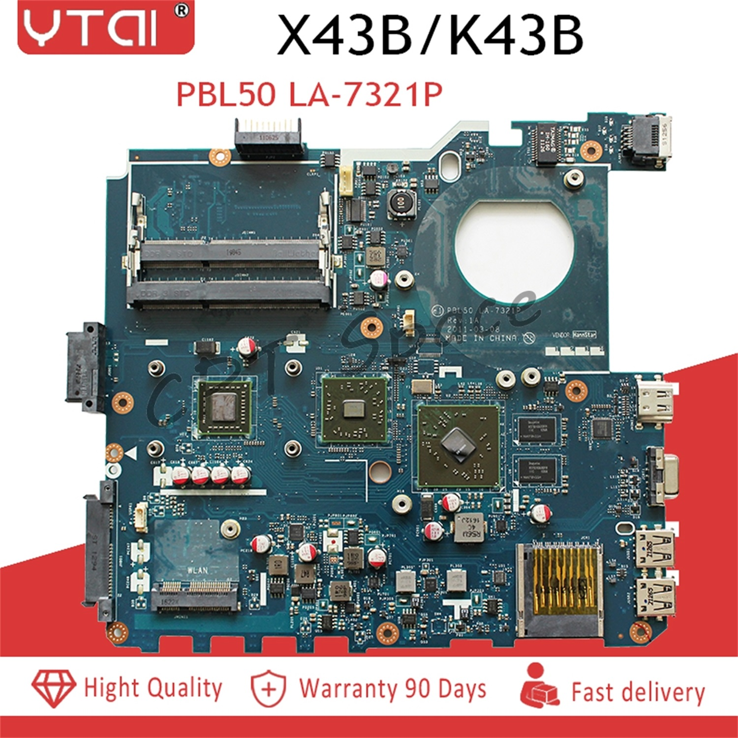 PBL50 LA 7321P K43B mainboard for ASUS K43B K43BR K43BY X43B X43U K43U laptop motherboard Rev