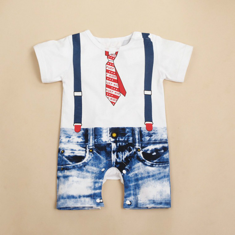 New Fashion Baby Boys Clothes Tie Printed Overalls Costume Growing Outfit Cartoon Romper One-Piece Boy Clothing Sets 3-24M