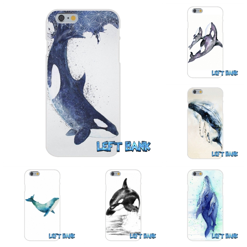 killer whale orca watercolor Soft Silicone TPU Transparent Cover Case For iPhone 4 4S 5 5S 5C SE 6 6S 7 Plus