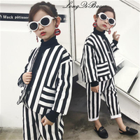 Baby cotton striped suit 2018 new Korean version of children's fashion Western two piece boy suit children's clothing tide cloth