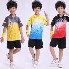 Детская одежда для бадминтона, теннисные рубашки+ шорты, Джерси, полиэстер, быстросохнущая дышащая футболка для бадминтона
