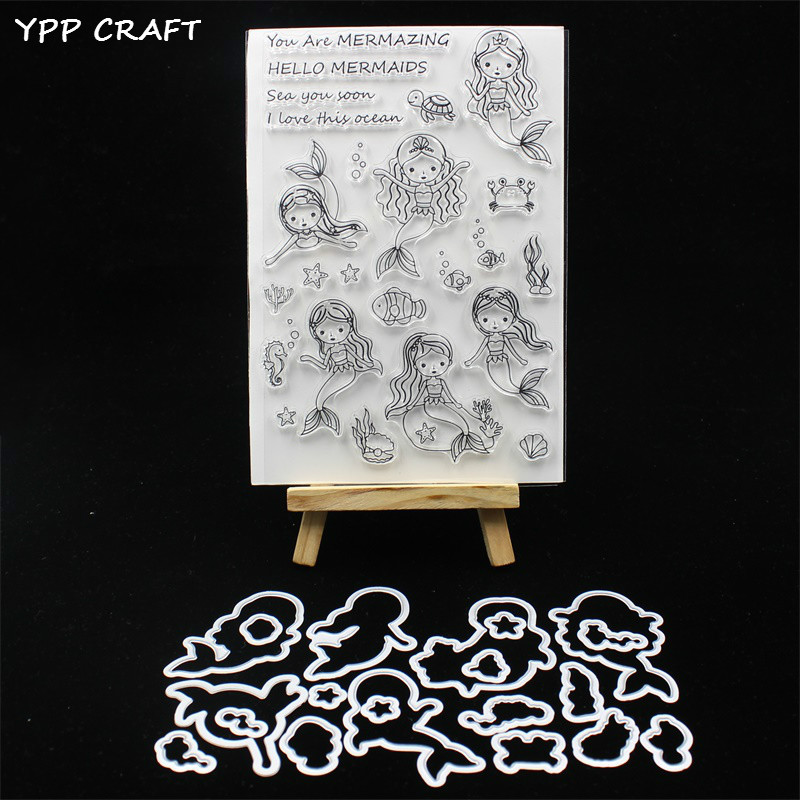 YPP CRAFT Cute Mermaid Stamp And Metal Cutting Dies for DIY Scrapbooking//photo
