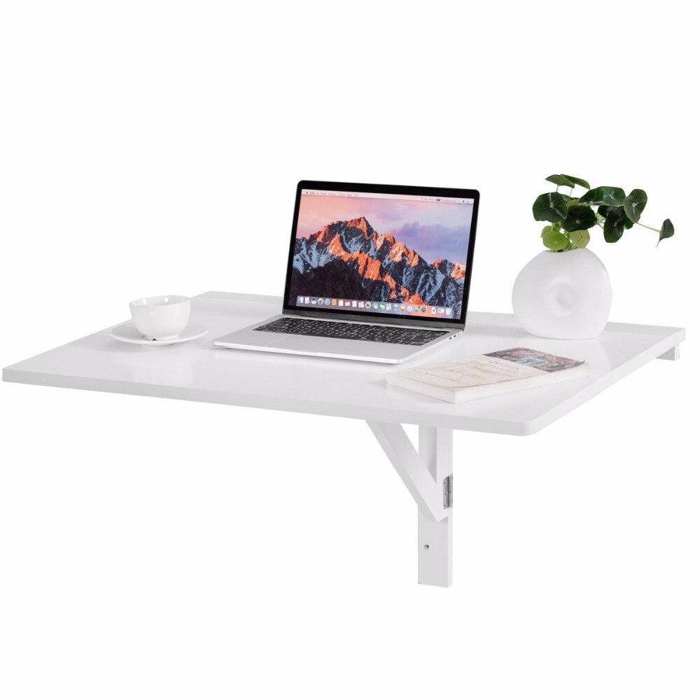 Giantex Table à poser murale pliante cuisine Table à manger bureau économiseur d'espace blanc bureau d'ordinateur HW60337