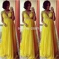 2017 Robe De Soirée Plus Size Amarelo Frisado Decote Em V Império Maternidade Longo Chiffon A Linha de Vestidos de Noite do baile de Finalistas Vestidos de Gravidez