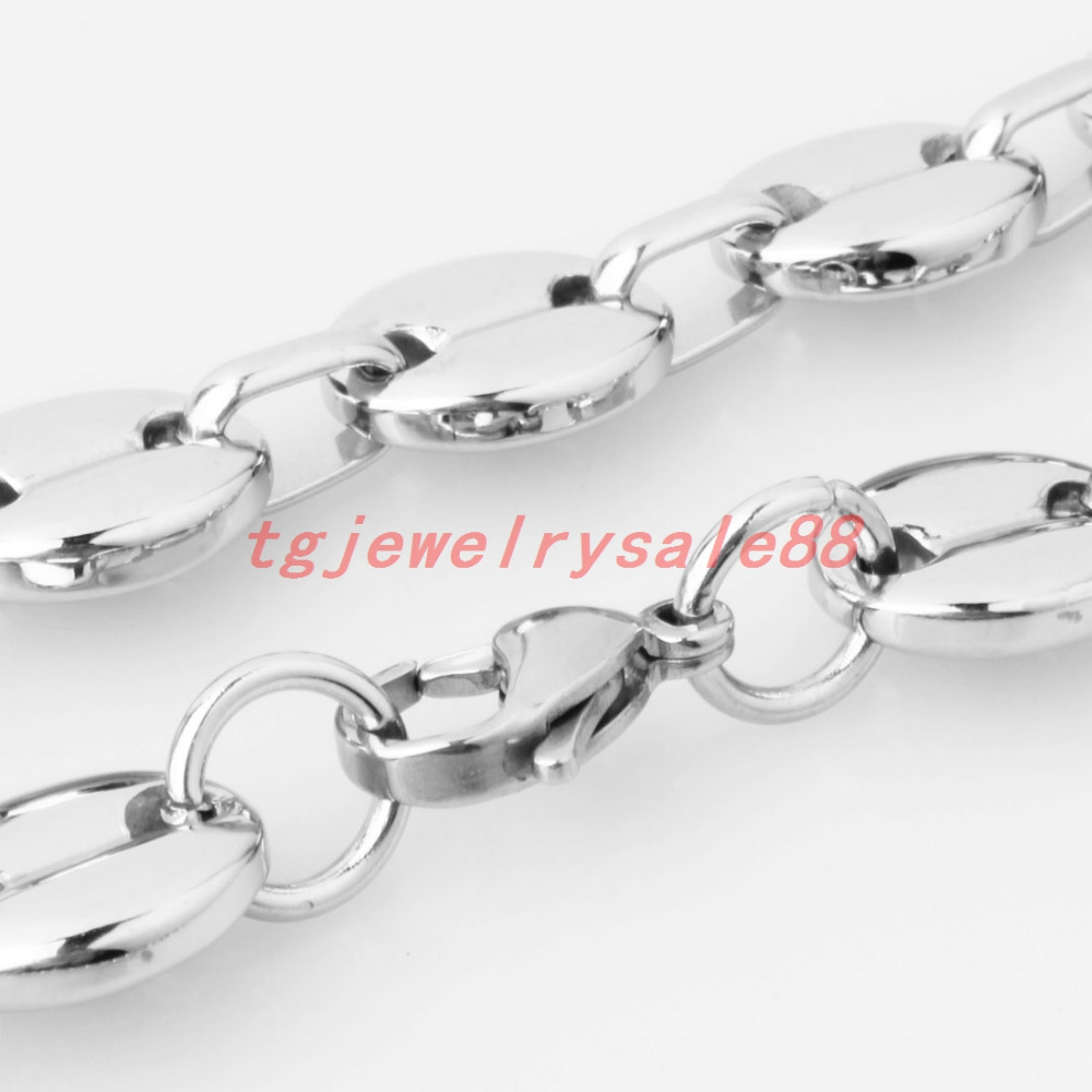 tgjewelrysale88 7/9/11mm Wide Top Polishing Silver Color Biker Men's Jewelry Stainless Steel Coffee Beans Link Chain Necklace Or Bracelet 7-40\