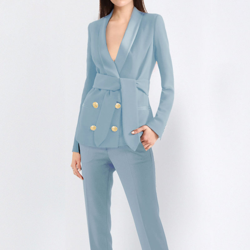 2 Piece Blue Pant Suits Formal Ladies Office OL Uniform Designs Women Elegant Business Work Wear Jacket With Trousers Sets