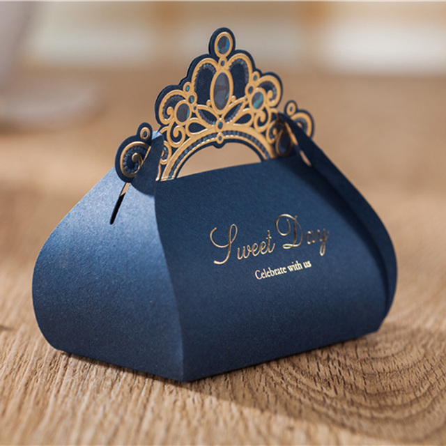 50pcs Luxury Navy Blue Candy Boxes Wedding Favor Box Gold Crown Craft Sweet Gift Bag Party