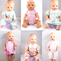5pcs/lots Directly Facotry Price 43cm Baby Born Zapf Doll Light Blue Jumpsuits Baby Born Doll Accessories Children Best Gift