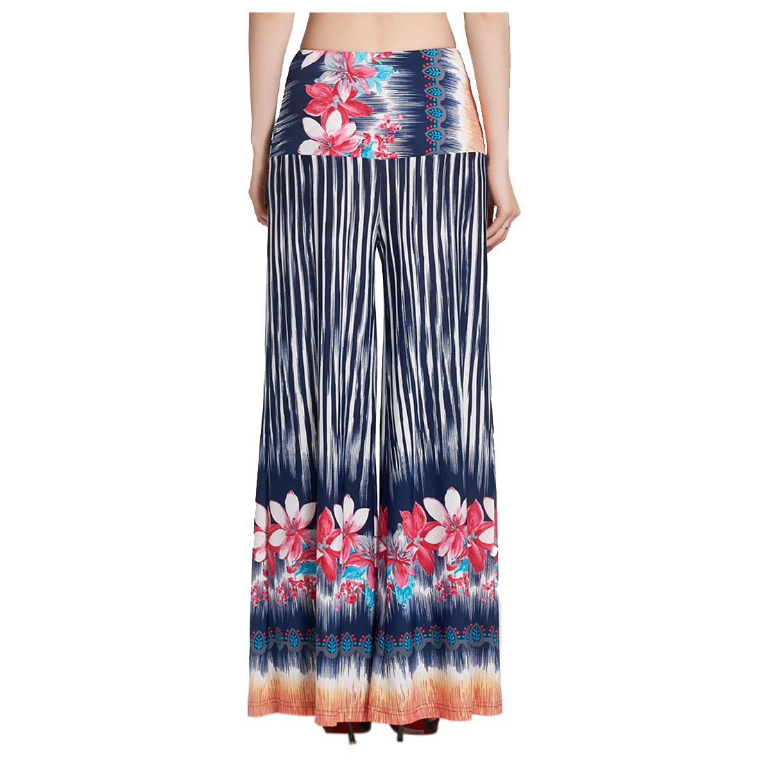 MYPF-Women High Waist Loose Pants Palazzo Wide Leg Dance Pants Floral Printing Tribal Pattern Pants Bell Bottom Trouser