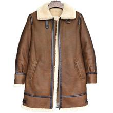 Men s Long Style B3 Shearling Sheepskin Bomber Jacket B7 Pilots Coat Men s Fur Coat