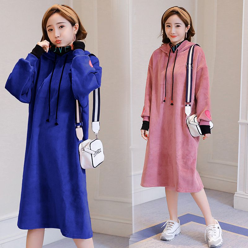 Silver fox hooded stitching fake two pieces of pregnant women in long dress plus velvet thick sweater new korean round neck fake two pieces slim dress