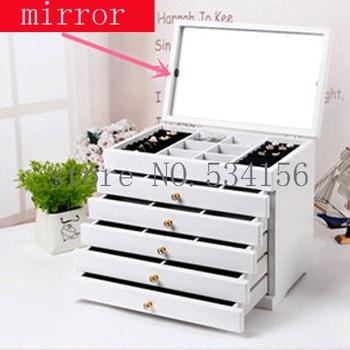 mirror Wood Jewelry Box Storage