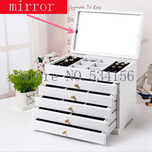 Upgraded version With mirror Wood Jewelry Box Storage Gift Display Box Jewelry Lagre Gift Box Packaging casket gift box