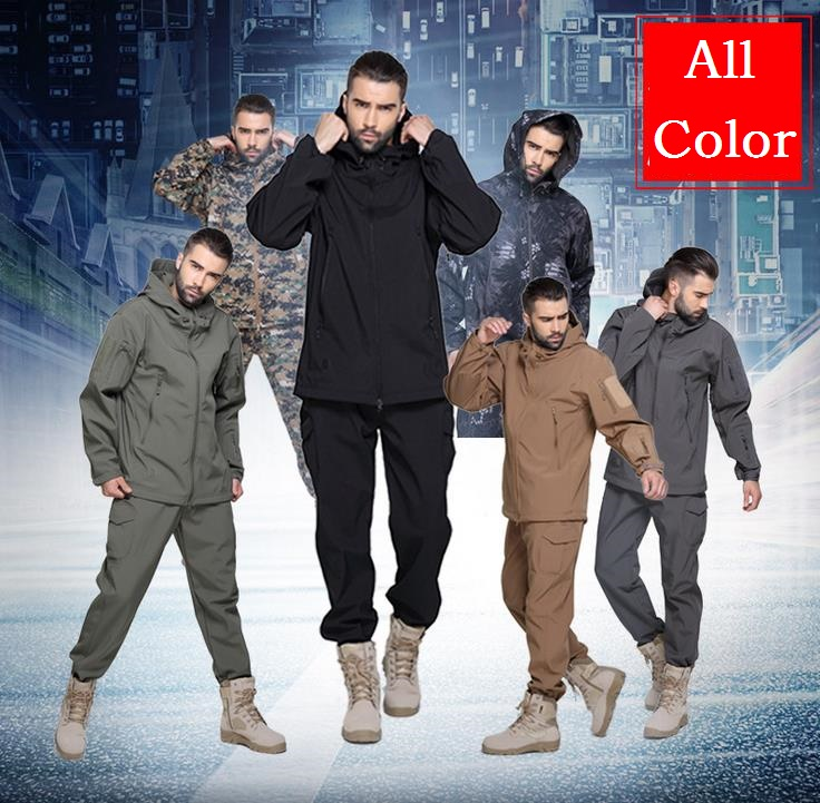 Camouflage hunting clothes Shark skin soft shell lurkers tad v 4.0 outdoor tactical military fleece jacket+ uniform pants suits купить