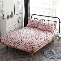 100% Cotton Fitted Sheet pink leopard Mattress Cover single double queen king Bedding Bed Sheets With Elastic Band bedclothes