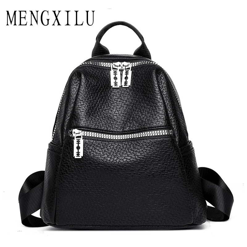 MENGXILU 2018 NEW Fashion Women Leather Backpacks For Girls Women Backpack Female High Quality PU 2018 Hot School Bag Lady's Bag цена