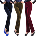 Autumn Women Pants 2016 Fahion High Waist Straight Trousers For Women Female Warm Fitness Solid Work Corduroy Pants Plus Size