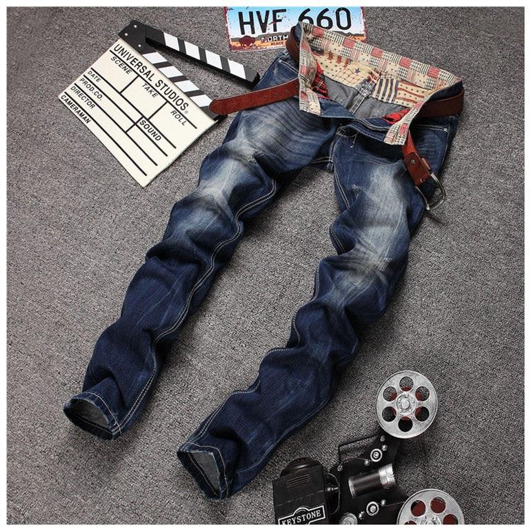 European American Style 2016 fashion brand men jeans luxury Men's casual denim trousers Slim Straight blue pop modern jeans цены онлайн