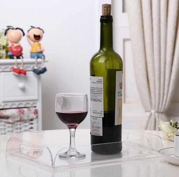 Plateau de service en plexiglas acrylique transparent avec poignées plateau de verres à vin en plexiglas décoratif polyvalent
