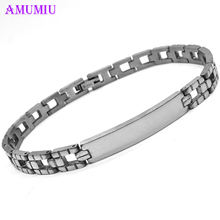 AMUMIU Fashion Couple Love Jewelry Cuff Bracelet for Women/Men Silver Color Stainless Steel Bracelets & Bangles Bijou B027 недорого