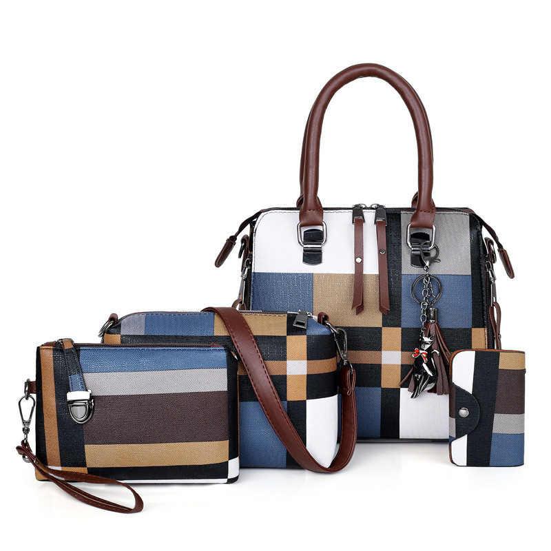 Женские сумки в клеточку SMOOZA, Дизайнерские Сумочки с кисточкой и сумочки, комплект из 4 предметов, 2019
