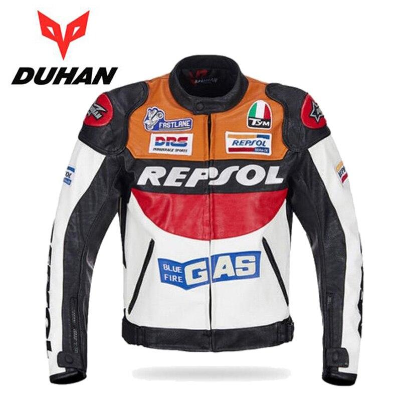 Offre spéciale DUHAN moto rcycle vêtements moto racing costumes REPSOL PU cuir hommes moto rbike veste vêtements printemps manteau