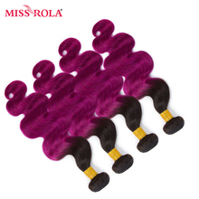 Miss Rola Hair Pre-colored Ombre Mongolian Body Wave Non-remy Hair 4 Bundles #T1B/Purple Color  Human Hair Weaving  Extensions
