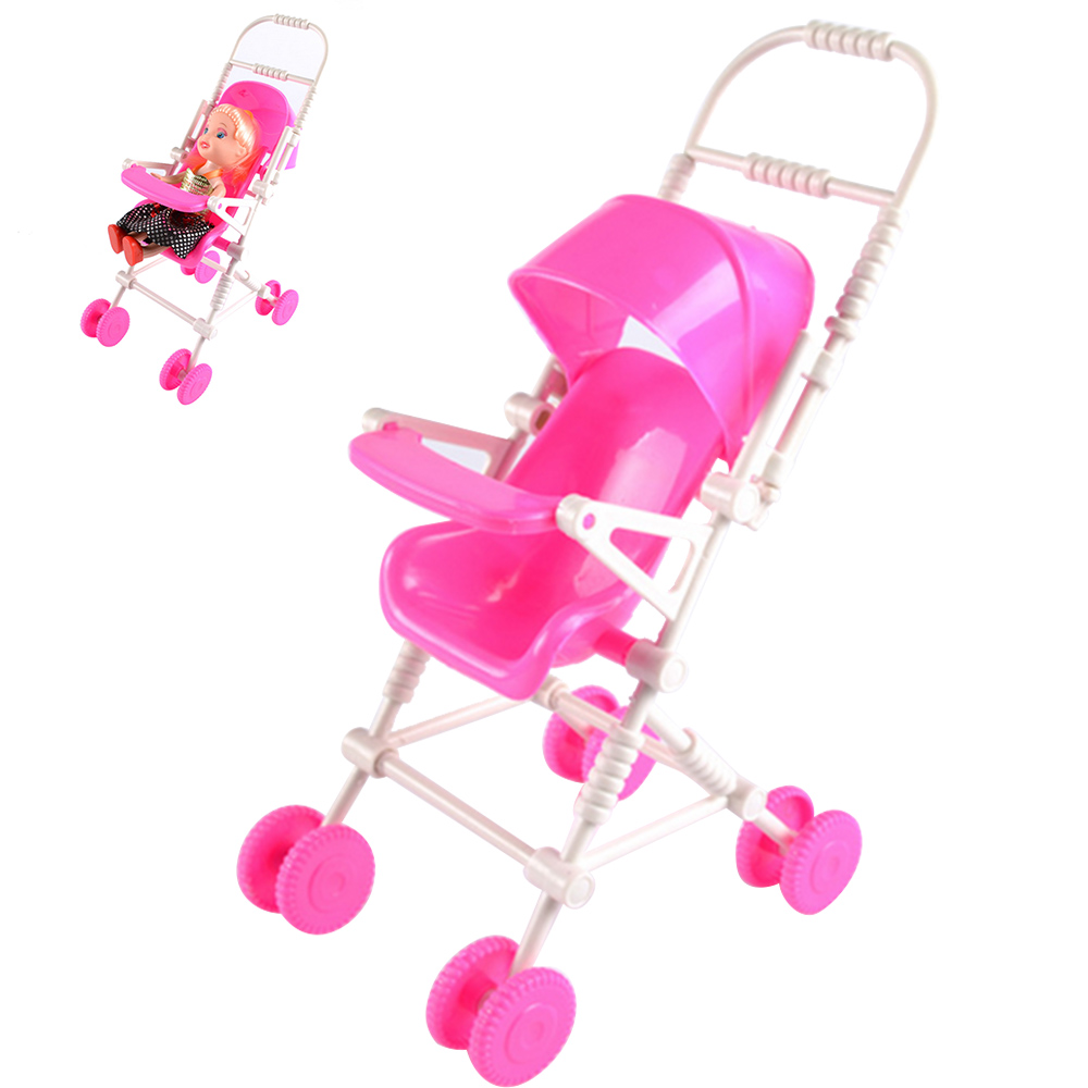 5 PCS Pink Mini Plastic Baby Doll Infant Carriage Stroller Trolley Nursery Toy Accessories for Barbie Kelly Doll Baby Girls Gift