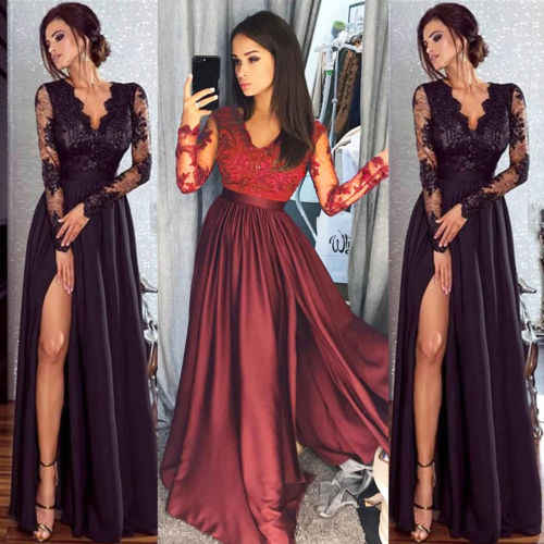 Women Lace Party Ball Prom Gown Formal Dress Ladies V-neck Lace Patchwork Long  Sleeve 303e45f735f6