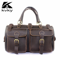ICeinnight Vintage Crazy Horse Genuine Leather Men Travel Bags Multifunction High Capacity Handbags High Quality Crossbody