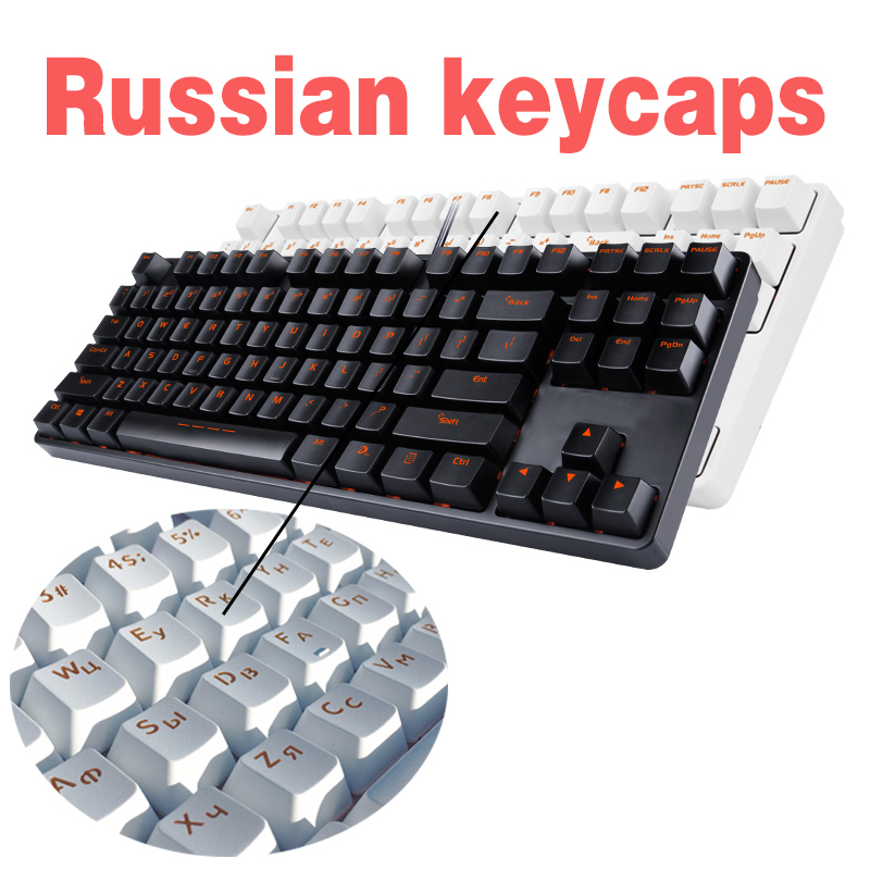 Black White Abs Russian Language Keycaps For Cherry Mx Switches Mechanical Keyboard Caps 108 Key Cap Computer Peripherals
