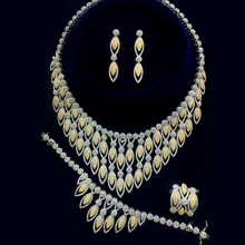 Two Tone Color Gold And White Gold color Women Luxury Bridal Cubic Zirconia Necklace Ring Bangle Earring Jewelry Set