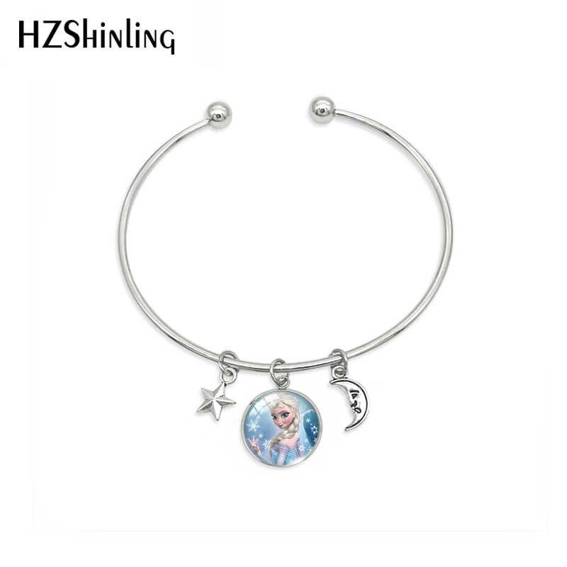New Arrival moda Fairy Tale piękny księżniczka wisiorek bransoletka księżniczka Elsa królowa śniegu amulet ze stali nierdzewnej bransoletki biżuteria