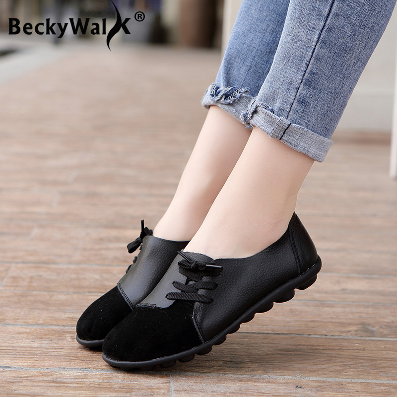 women shoes genuine leather casual flats sneakers women spring autumn ballet flats patchwork designed zapatos de mujer|Women