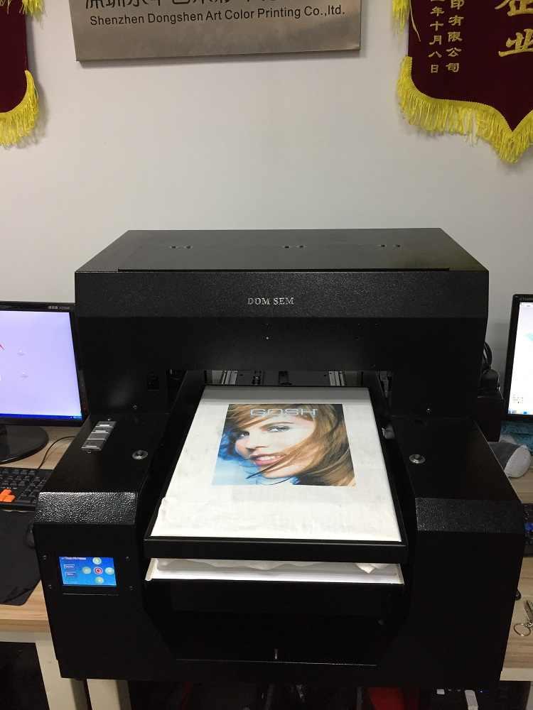Domsem Digital Flatbed UV Printer Kain T Shirt Printer 6 Warna A3 Ukuran T-Shirt Direct To Garment Mesin Cetak
