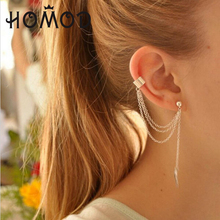 HOMOD New Women Girl Stylish Punk Rock Leaf Chain Tassel Dangle Ear Cuff Wrap Earring Jewelry stylish faux turquoise carving leaf tassel necklace for women