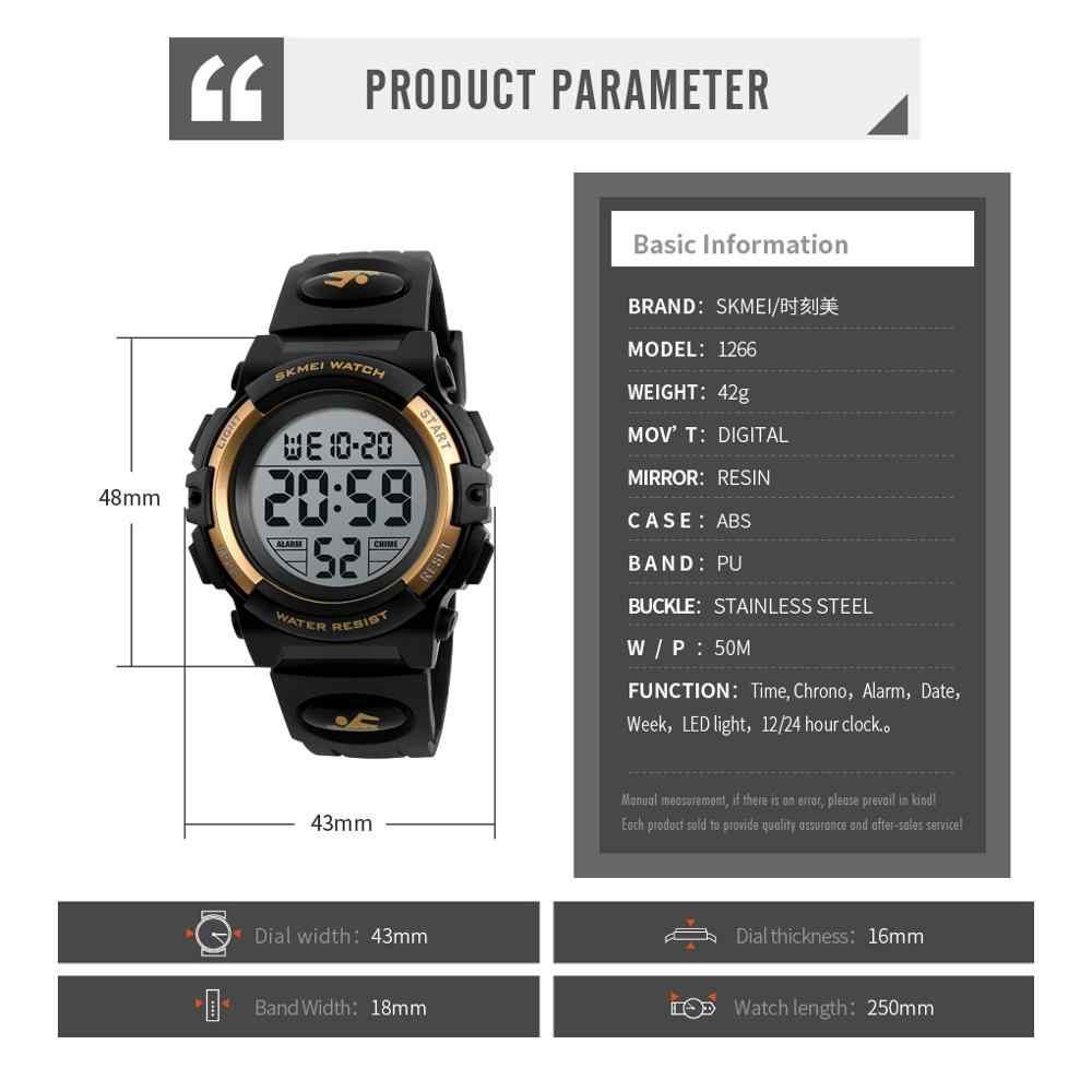 SKMEI 2020 relojes deportivos multifuncionales con cronógrafo, reloj Digital LED para niños, 5bar, relojes de pulsera para niños y niñas a prueba de agua